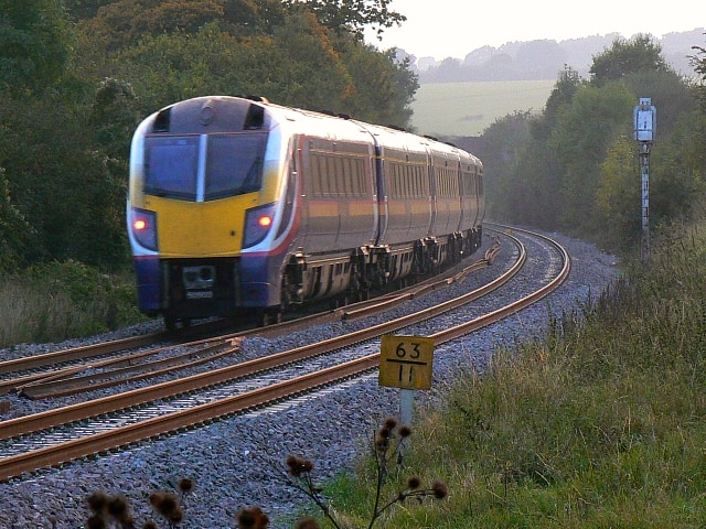 Adelante passenger train en route to the south-west of England