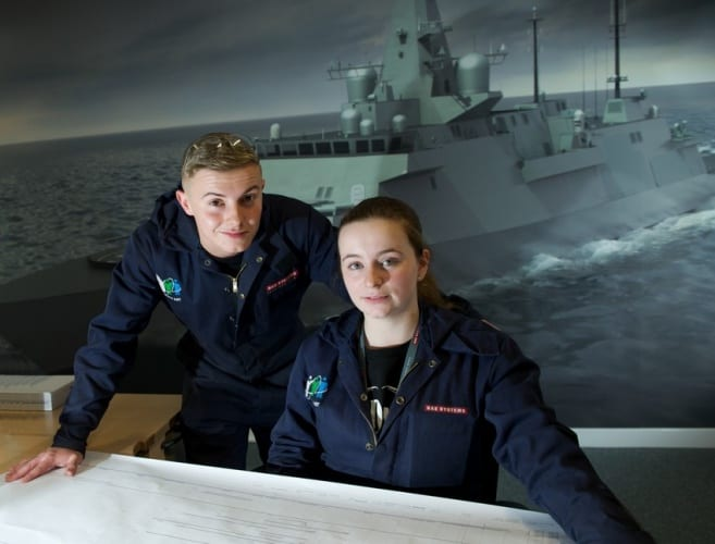 Around half of all new apprentices will work at BAE's submarine design and manufacturing site, while almost half of all new grads will start out in cyber-security.