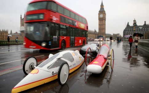 The launch of the event saw a number of vehicles designed by students from University College London displayed on Westminster Bridge.
