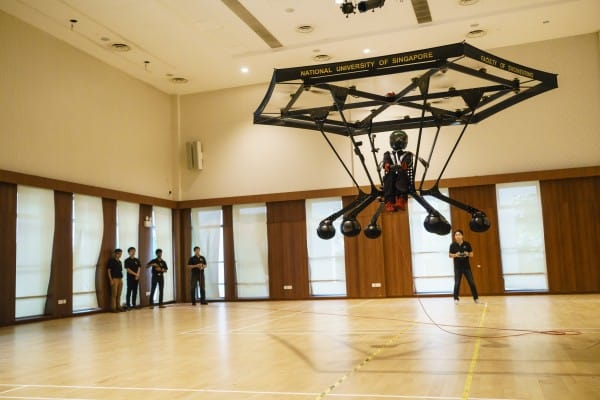 NUS students designed and built Snowstorm, an electric-powered personal flying machine. (Credit: NUS)