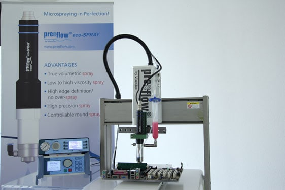 preeflow eco-spray from Intertronics - high precision volumetric spray dispensing system