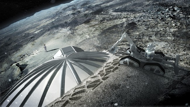 One way of bui8lding structures on other planets is to deposit a regolith-based concrete onto inflatable forms