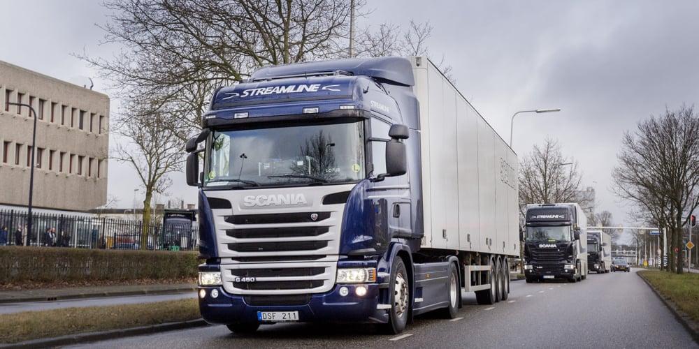 Zwolle, 9 februari 2015. Minister Melanie Schultz van Haegen is in Zwolle bij een demonstratie van zelfrijdende vrachtwagens bij de Scania fabriek.