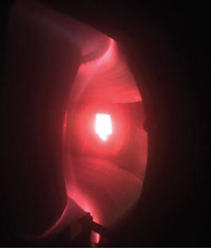 The white-hot limiter glowing in contact with the plasma (Credit: J.S. Hu)