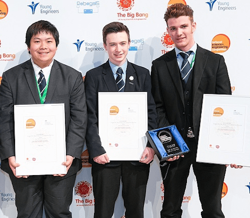 Rogan, Stuart and Ethan from Old Swinford Hospital School in Stourbridge were named UK Young Engineers of the Year for building a unique Hot Rod car from scratch for Rogan's disabled brother, David (13)