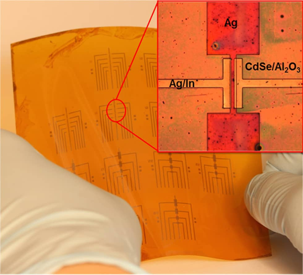 Because this process works at relatively low temperatures, many transistors can be made on a flexible backing at once (University of Pennsylvania)