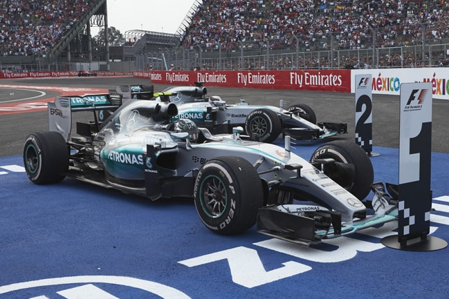 The Silver Arrows of Mercedes take their grid places in 2015