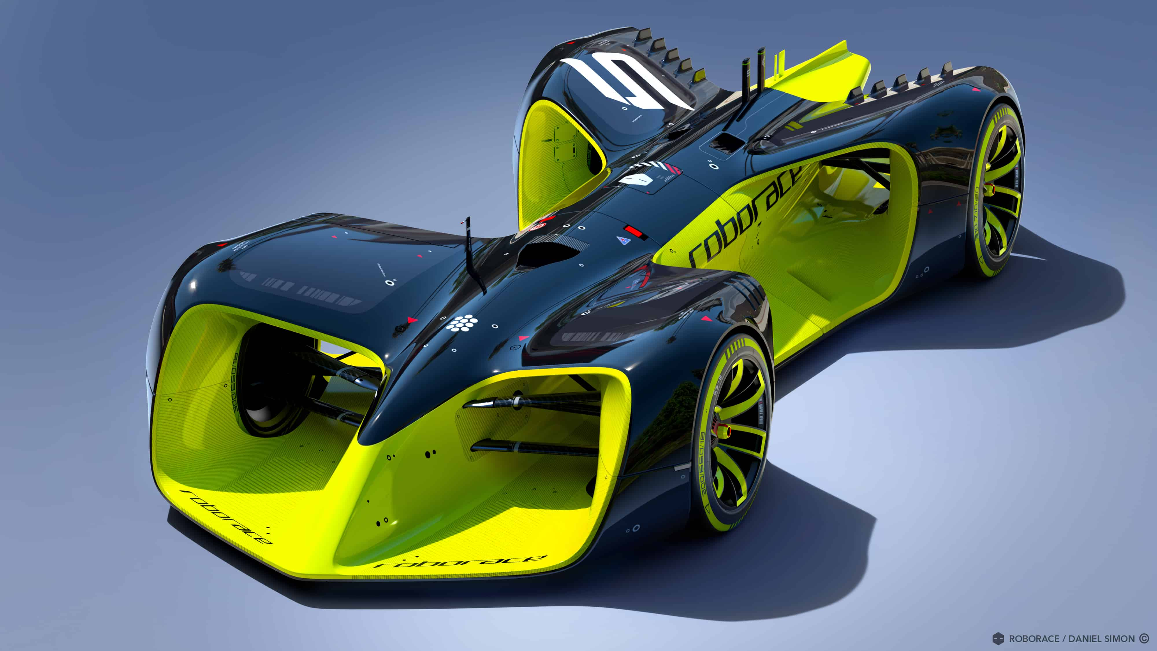 The racing-car of the future, coming soon to a street circuit near you. Image by Chief Design Officer Daniel Simon / Roborace Ltd.