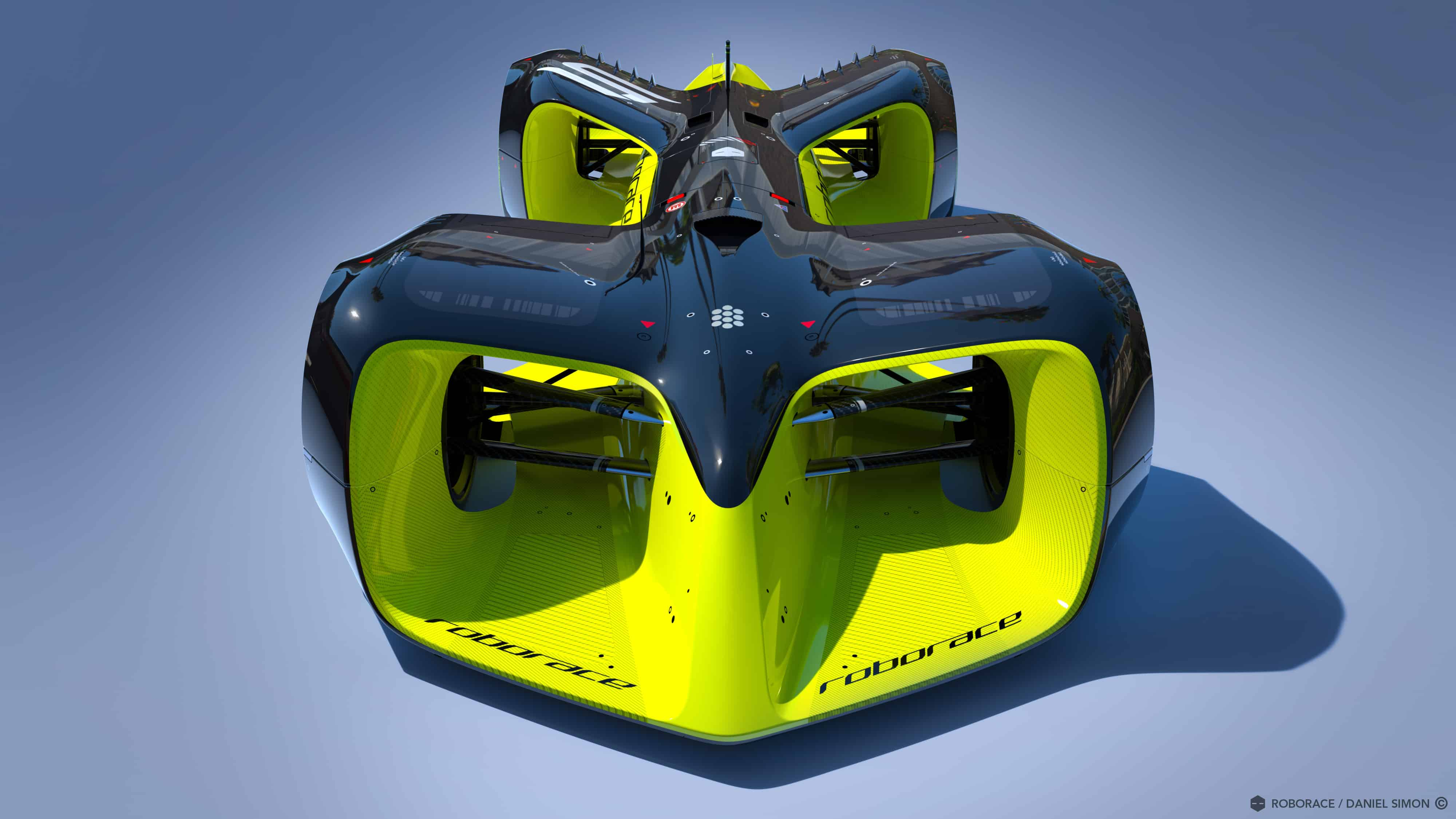 Not a view that any human driver will see in their rear-view mirror. Image by Chief Design Officer Daniel Simon / Roborace Ltd.