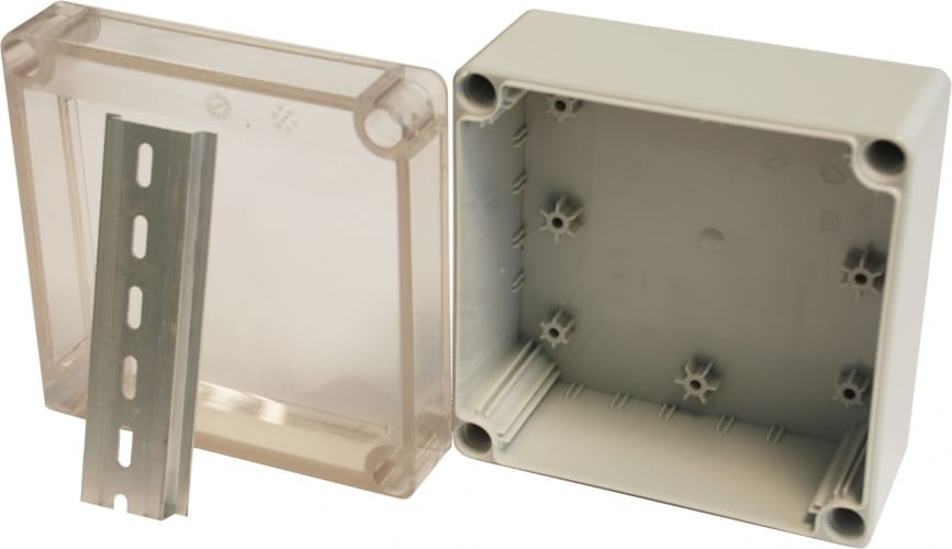 Hylec APL IP 66 DN Junction box 35 mm DIN Rail and Transparent lid