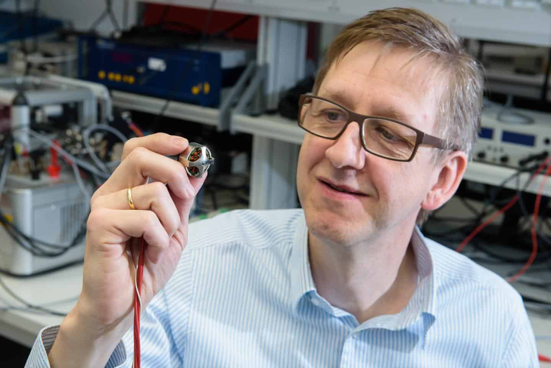 Prof Matthias Nienhaus with one of his team's mart motors