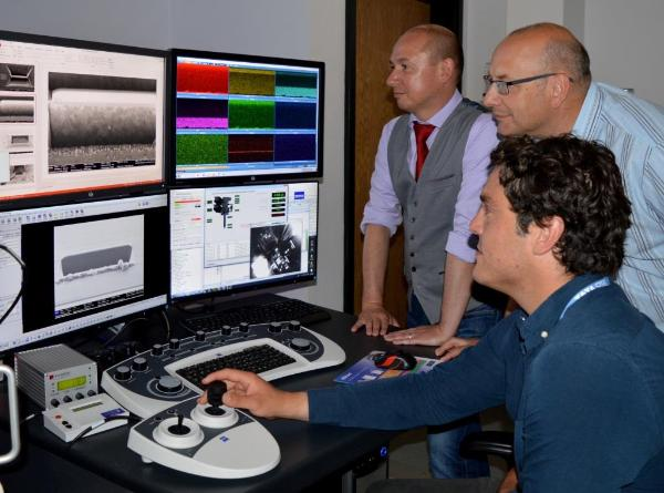 Looking at steel at the atomic level in the imaging suite:  l-r Dr Adrian Walters, SPECIFIC: Prof Geraint Williams, College of Engineering; Patrick Dodds, Tata Steel and Swansea University