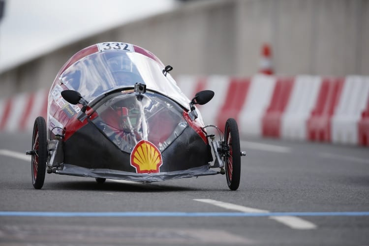 The HUGO, #332, a battery electric prototype racing for team DE MFK TEAM from University of Debrecen, Debrecen, Hungary on the track during Make the Future London 2016 at the Queen Elizabeth Olympic Park, Sunday, July 3, 2016 in London, UK. (Chris Ison for Shell)