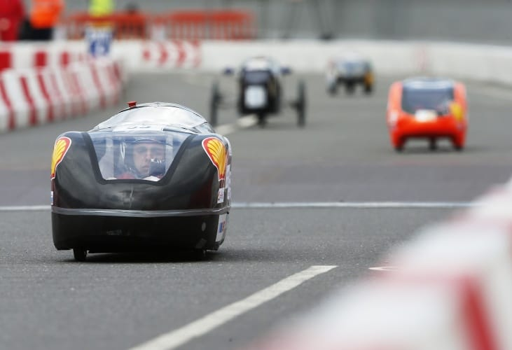 The Eco Da Vinci 2.0, #65, a ethanol prototype racing for team ECO DA VINCI from I.E.S Leonardo Da Vinci, Alicante, Spain on the track during Make the Future London 2016 at the Queen Elizabeth Olympic Park, Sunday, July 3, 2016 in London, UK. (Chris Ison for Shell)