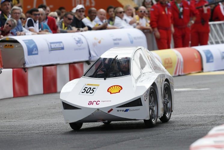 The ConsominiUrban, #505, an ethanol UrbanConcept racing for team Arc Team from HE-Arc Ingénierie, St-Imier, Switzerland on the track during Make the Future London 2016 at the Queen Elizabeth Olympic Park, Sunday, July 3, 2016 in London, UK. Today marks the conclusion of the very first Drivers' World Championships, as a head to head race against the 2016 UrbanConcept winners from North America, Asia and Europe to find the quickest and most energy-efficient driver. (Chris Ison for Shell)