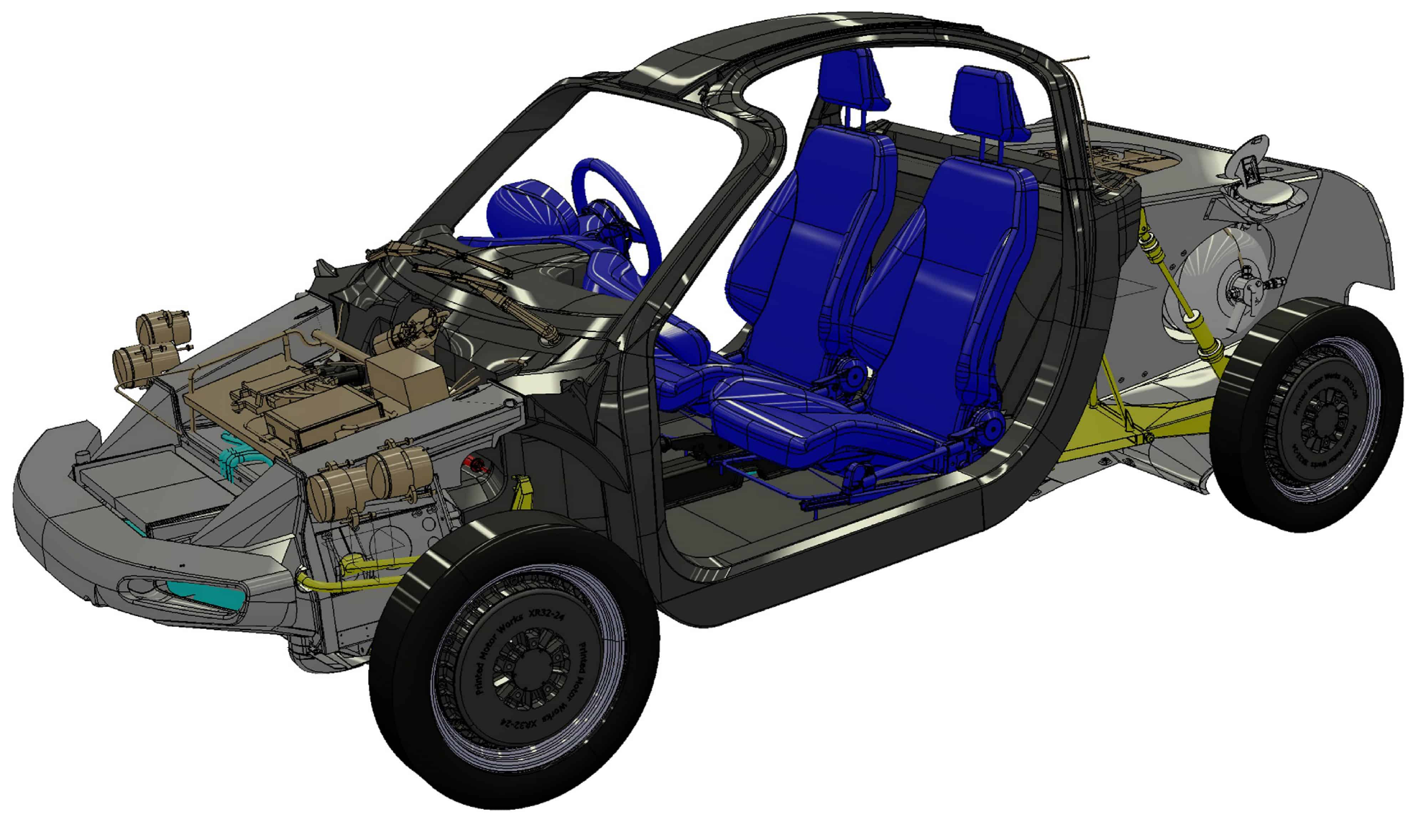 The riversipl car has a revolutionary design, based around a fuel cell and wheel-hub motors