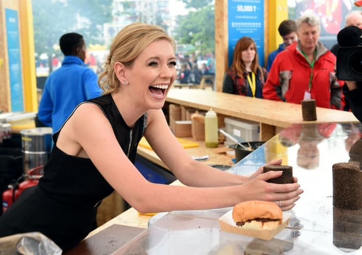 Television presenter Rachel Riley shares a laugh during Make the Future London 2016 at the Queen Elizabeth Olympic Park on Friday, July 1, 2016, in London, UK. (Mark Pain for Shell)