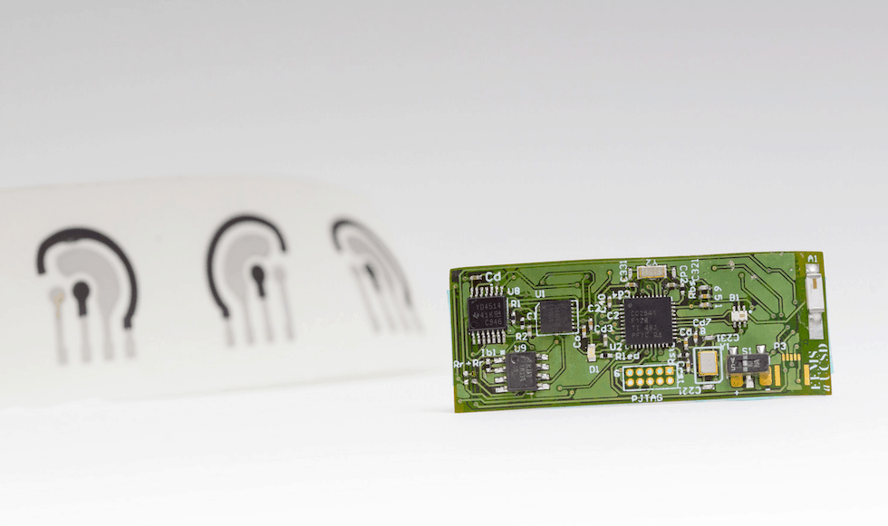 The alcohol sensor consists of a temporary tattoo (left) developed by the Wang lab and a flexible printed electronic circuit board (right) developed by the Mercier lab