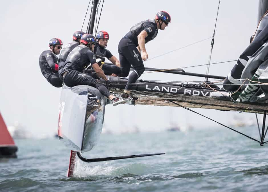 PORTSMOUTH, UNITED KINGDOM. July 22nd : British challenger to the 35th America's Cup, Land Rover BAR skippered by Ben Ainslie shown here in action on the practice day close to the shore. The 35th America's Cup Louis Vuitton World Series in Portsmouth, Photo by Lloyd Images