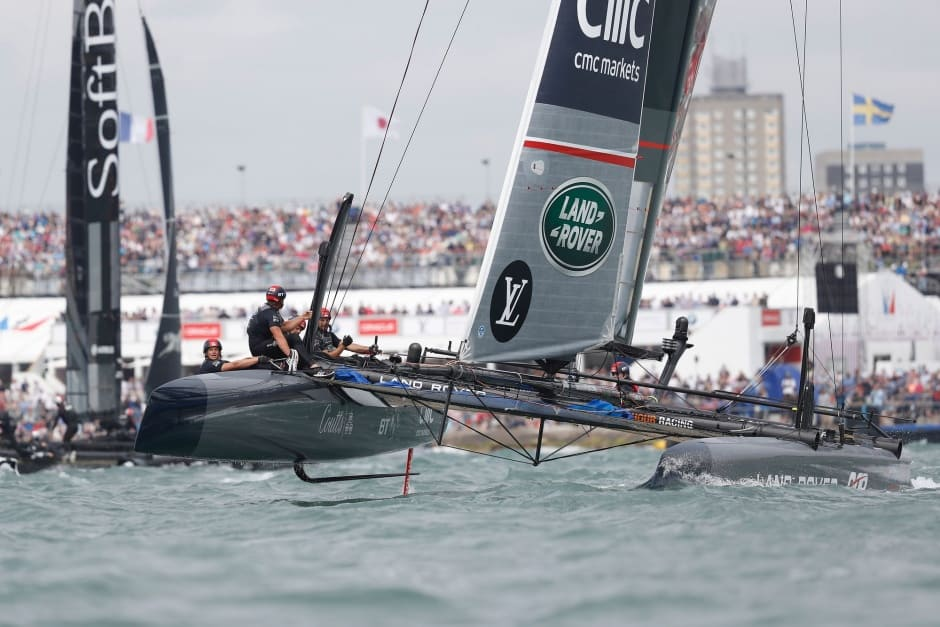 The 35th America's Cup Louis Vuitton World Series. July 24th: Land Rover BAR skippered by Ben Ainslie shown here in action on the final day of racing. (Photo by Lloyd Images)