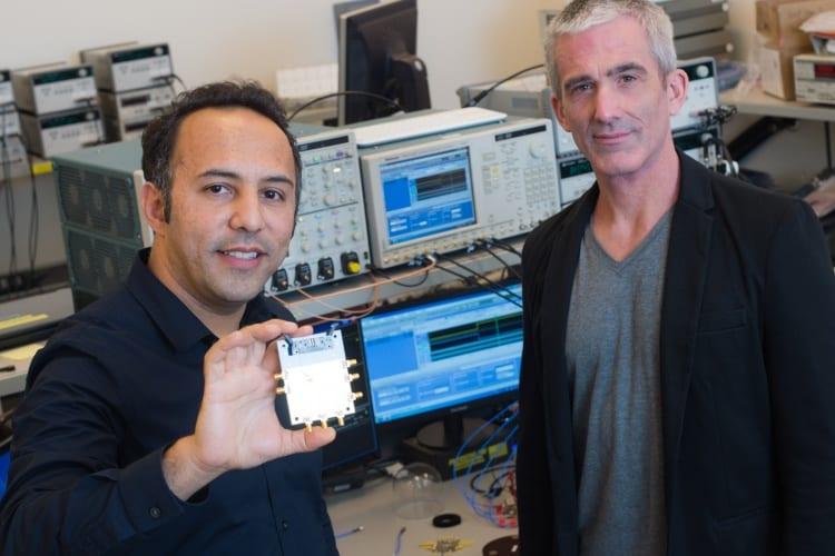 Aydin Babakhani (left) and Edward Knightly (Credit: Jeff Fitlow/Rice University)