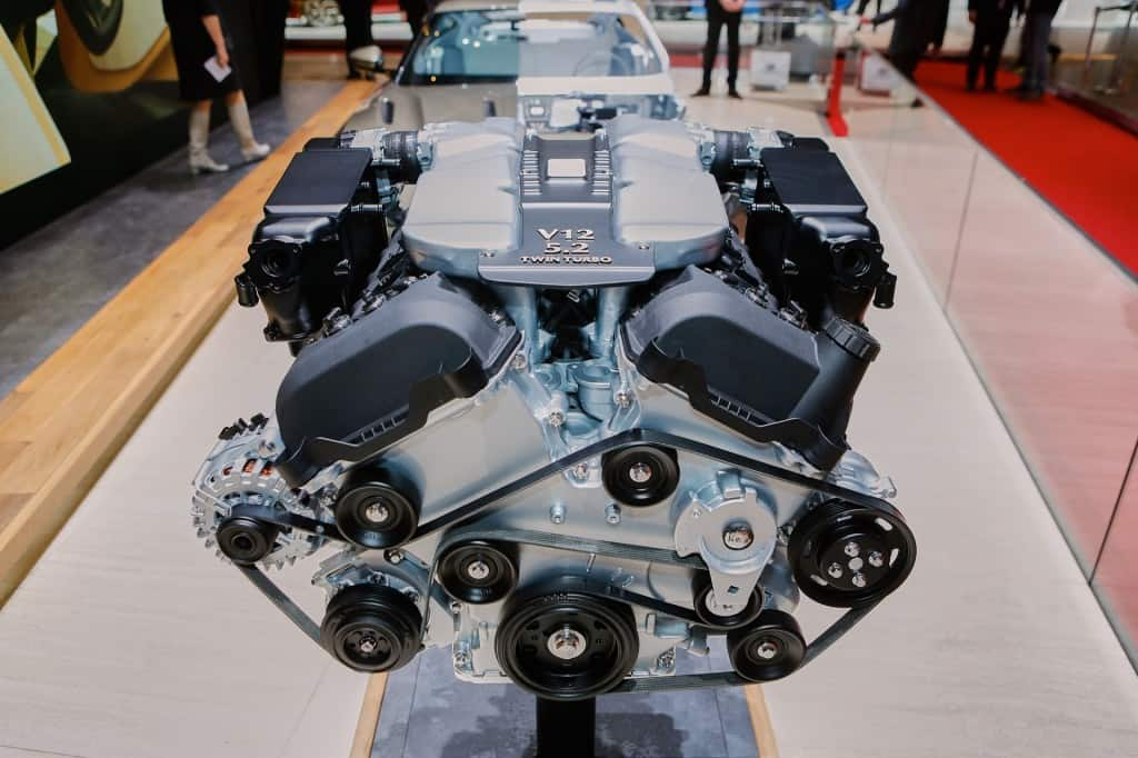 The DB11's 12-cylinder engine was unveiled at the Geneva motor show