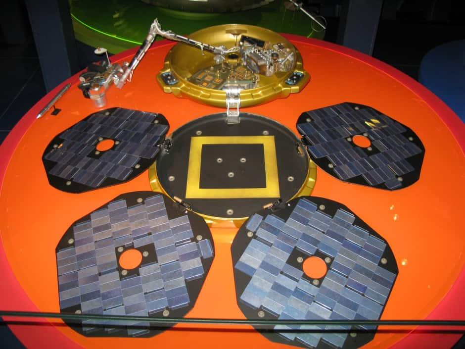 A replica of Beagle 2 in fully deployed mode. The antenna was positioned in the central section.