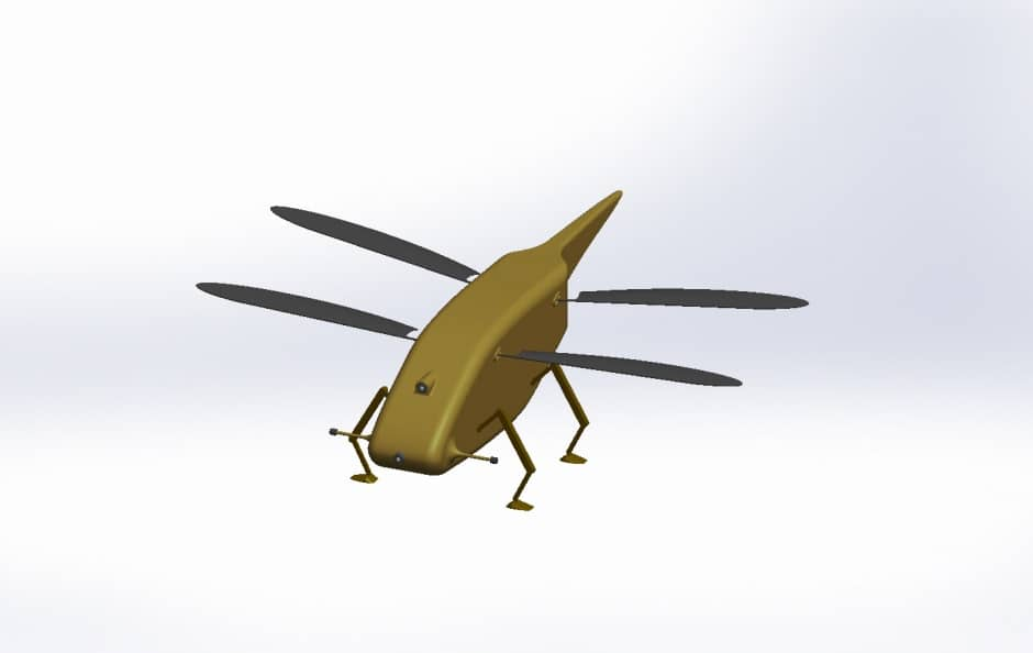 Computer generated video showing the Skeeter micro-drone flying in a virtual village environment. A tiny Unmanned Aerial System with flapping wings inspired by the biology of a dragonfly, currently in development with Animal Dynamics. The 'micro-drone' will use cutting edge micro-engineering for unparalleled levels of performance. This has the potential to have a huge impact on intelligence-gathering in future operations in complex urban environments.