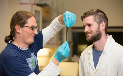 Prof Jonathan Coleman is pictured with Dr Conor Boland and their G-putty
