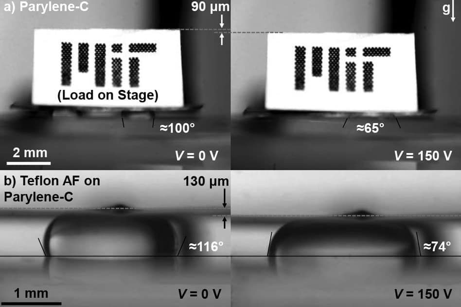 The MEMS platform (here, supporting a piece of paper with the MIT logo) can be raised, lowered and tilted