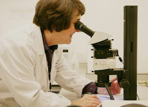 Dr Everitt at work in the lab