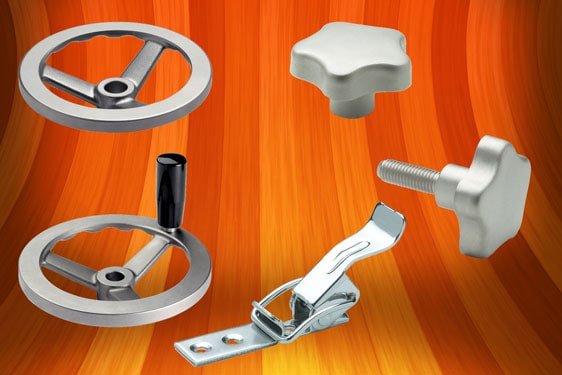 Stainless steel spoked handwheels, lobe knobs and hook clamps