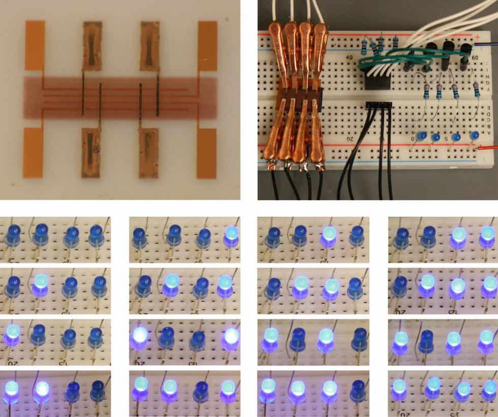 A new 'spray-on' digital memory (upper left) could be used to build programmable electronic devices on flexible materials