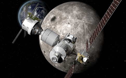 Boeing rendering of DSG in lunar orbit