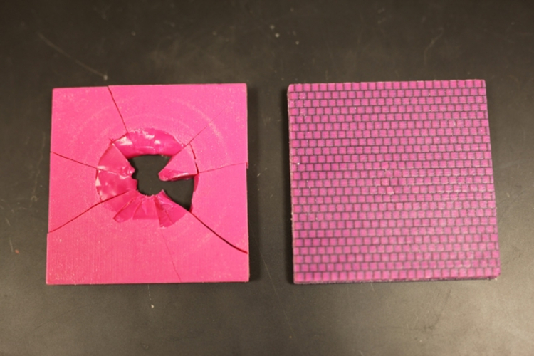 The geometry with the conch-like, criss-crossed features (right) was substantially better at preventing cracks (Photo: Melanie Gonick/MIT)