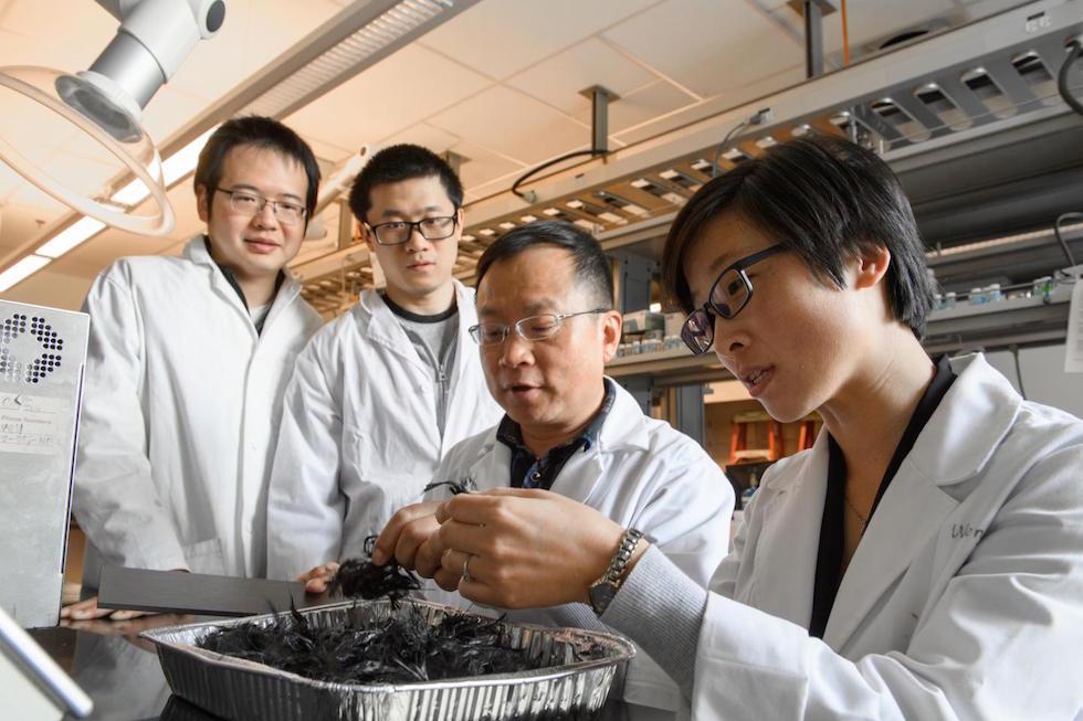 Prof Jinwen Zhang with his carbon fiber recycling research team (credit: WSU)