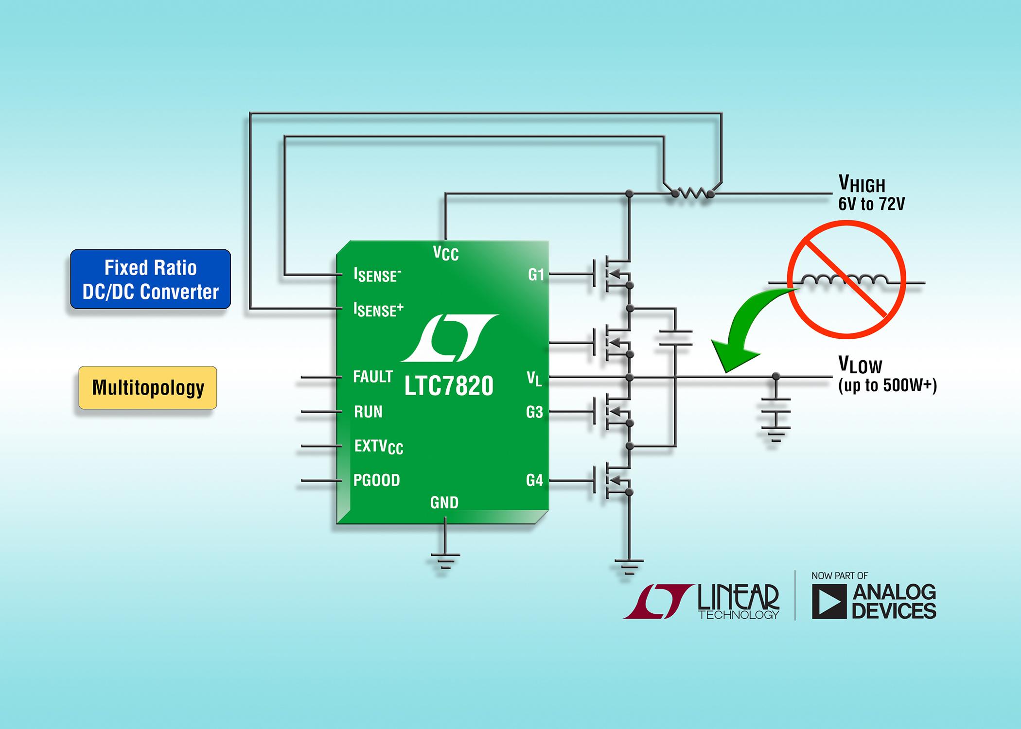 72V fixed-ratio DC/DC controller