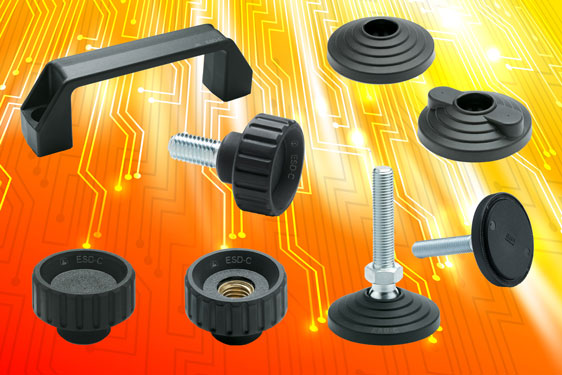 Grip knobs, levelling element bases and bridge handles