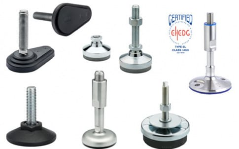 Elesa levelling feet match industrial applications and aggressive environments